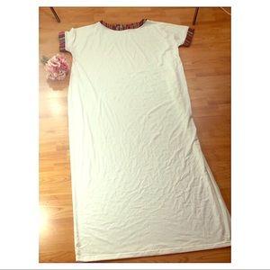 Dresses - White Caftan with Ethnic Trim